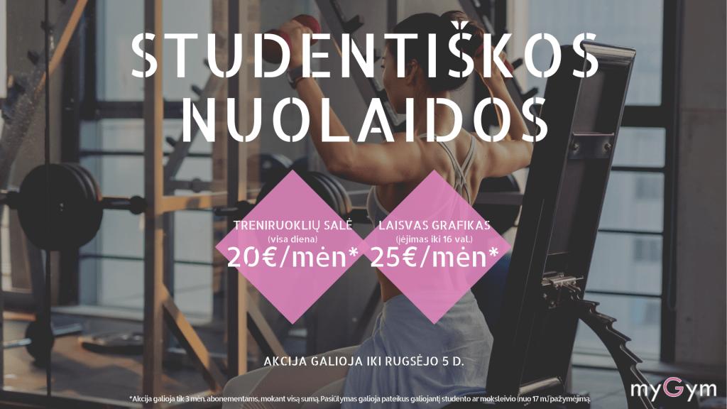 AKCIJA STUDENTĖMS! Su Studento pažymėjimu įsigyk PIGIAU šiuos abonementus: 3 mėn. TRENIRUOKLIŲ SALĖ visai dienai - vietoj 26eur/mėn, mokėk TIK 20eur/mėn* + 7 d. stabdymo galimybė; 3 mėn. LAISVAS GRAFIKAS įėjimas iki 16 val. - vietoj 29eur/mėn, mokėk TIK 25eur/mėn* + 7 d. stabdymo galimybė. AKCIJA GALIOJA IKI RUGSĖJO 5 D. *mokėti visą sumą iš karto