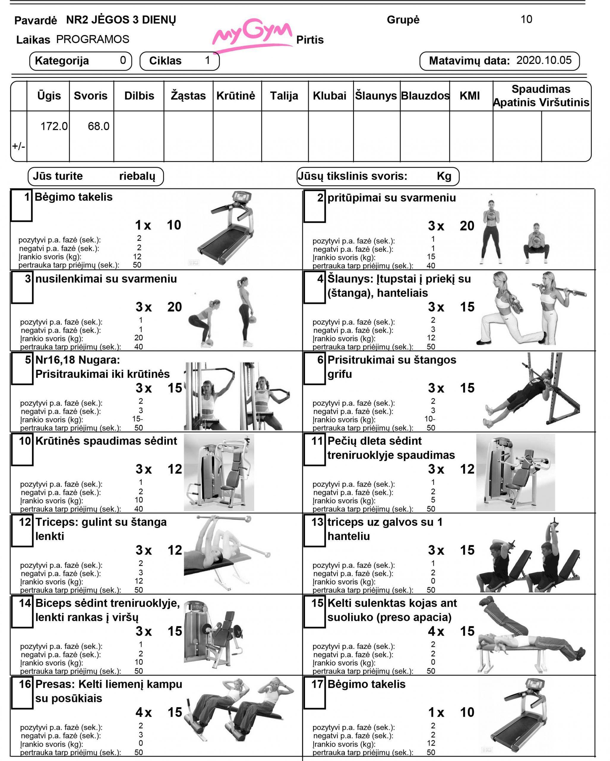 Jėgos treniruočių sporto programa 3 kartus per savaitę